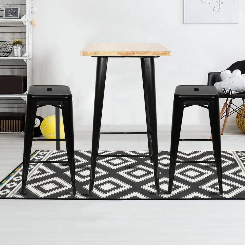 Esstisch Holztisch Industrial dining tisch für Esszimmer Essgruppe Metallgestell vintagebraun-schwarz 60x60x103cm - WYCTIN
