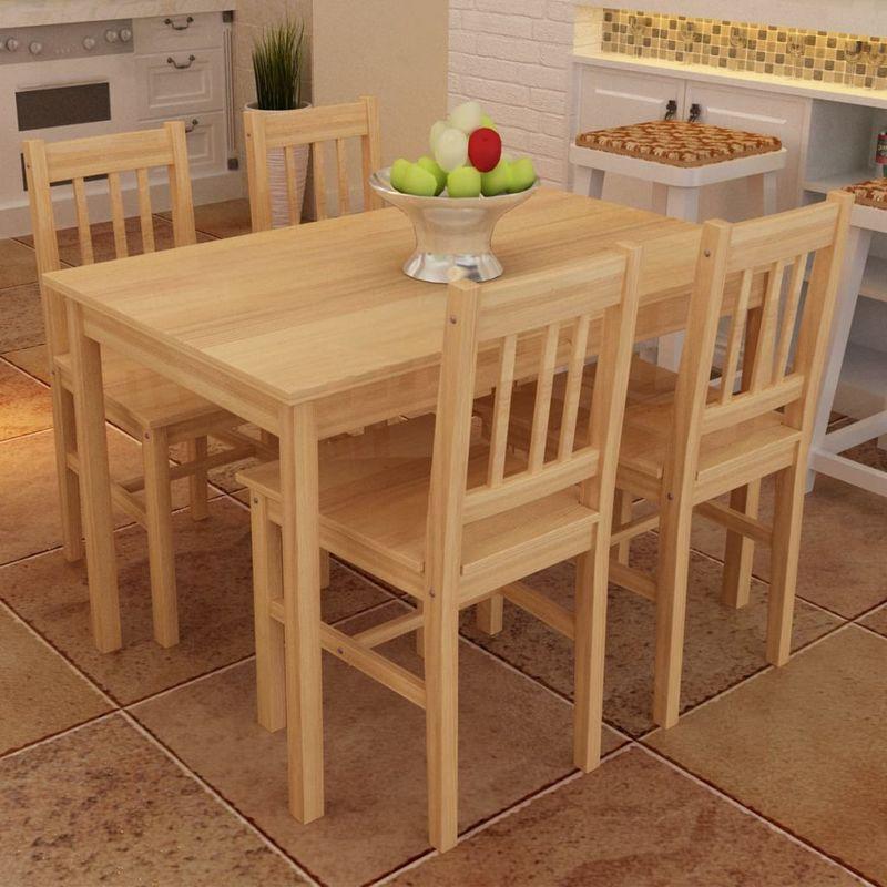 Hommoo - Esstisch Holztisch mit 4 Holzstühlen Esszimmerset Essgruppe VD08622