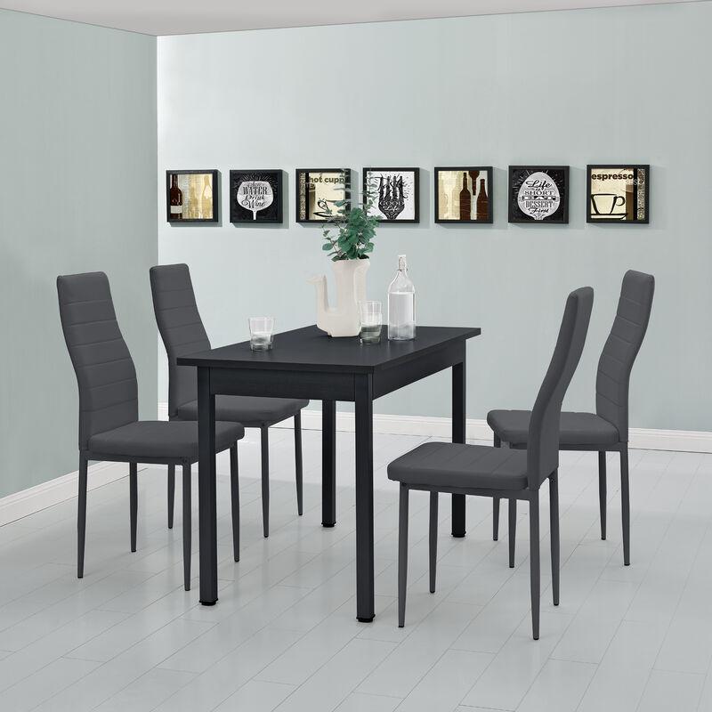 [en.casa] - Esstisch mit 4 Stühlen schwarz/grau 120x60 Küchentisch Esszimmertisch