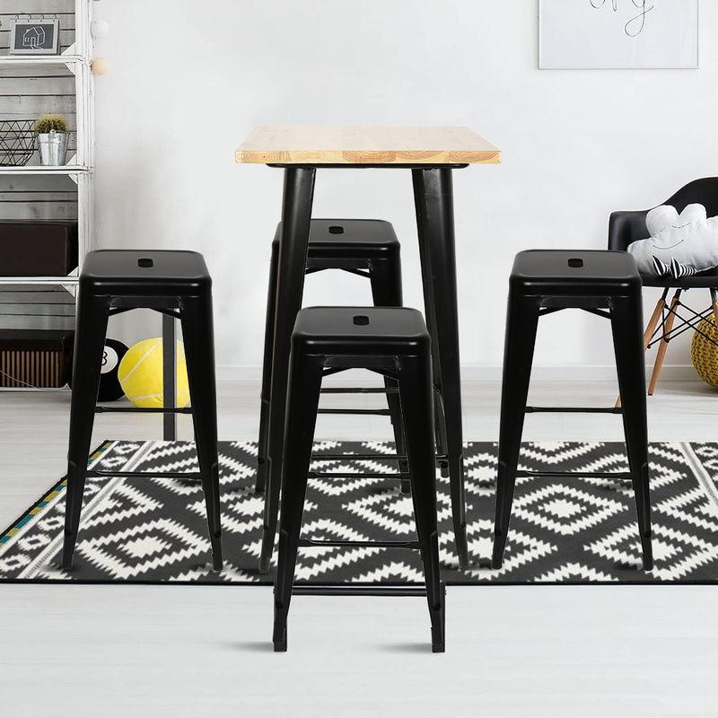 Esstisch mit 4 Stühlen Esszimmer für Esszimmer Essgruppe Metallgestell 60x60x103cm Holztisch Balkontisch - WYCTIN