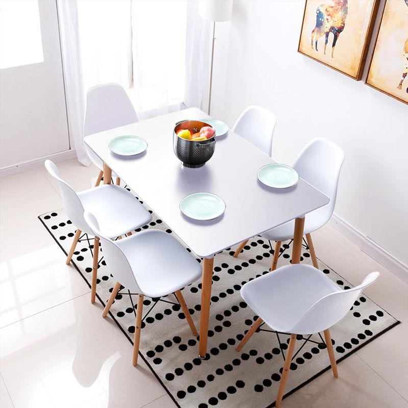Esstisch mit 6 Esszimmerstühle Esszimmer Essgruppe 110x60x75cm Weiß für Esszimmer Essgruppe Kombipakete - WYCTIN