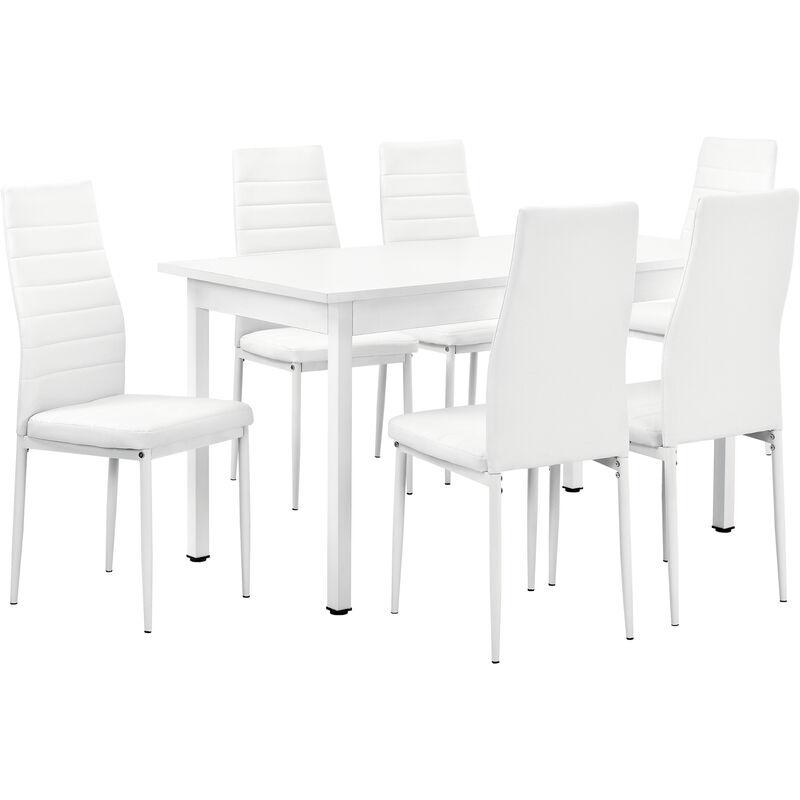 [en.casa] - Esstisch mit 6 Stühlen weiß 140x60cm Küchentisch Esszimmertisch Tisch