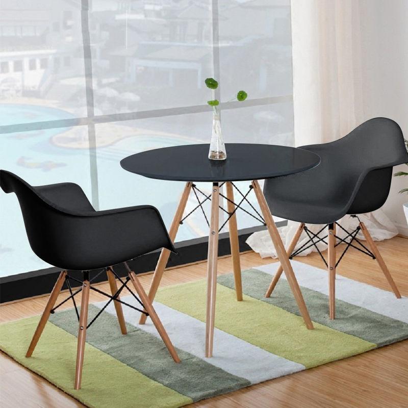 Esstisch Runde mit 2 stühle Schwarz Tisch Stühle Essgruppe für Esszimmer Küche Büro,Lounge 80x80x75cm - WYCTIN