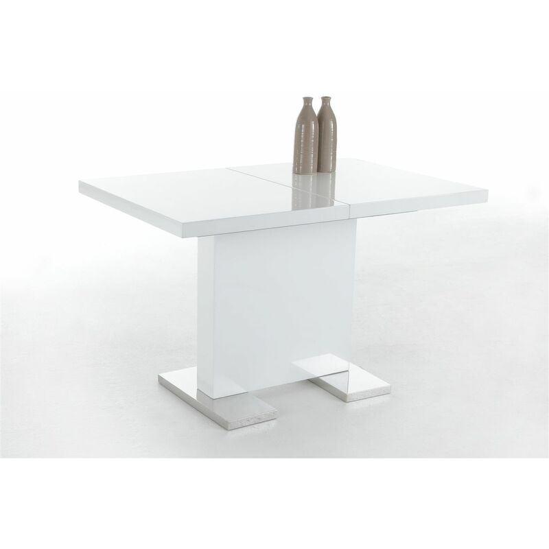 Esstisch Säulentisch BIRGA 120-160x80 cm Hochglanz Weiss - FUN MOEBEL