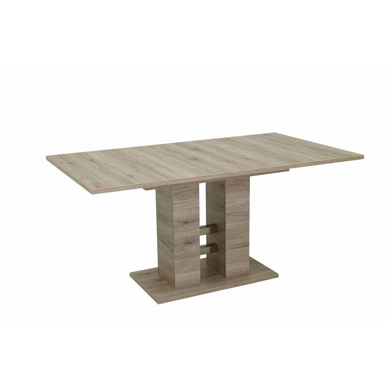 Esstisch Säulentisch DITTE 140-180-220x90 cm San Remo Eiche - FUN MOEBEL
