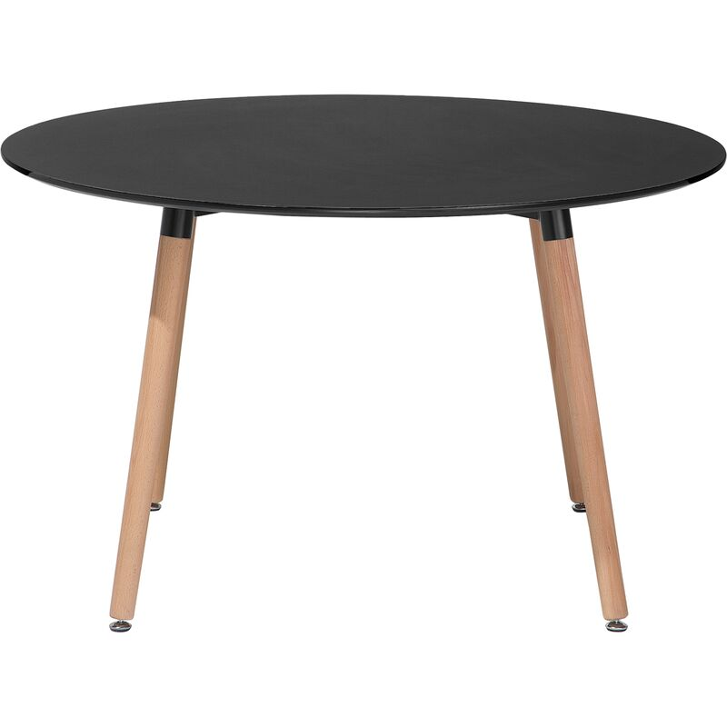 Esstisch Schwarz ø 120 cm MDF Platte Matt mit Holzbeine Rund Modern - BELIANI