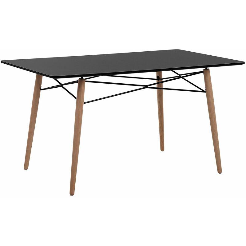 Esstisch Schwarz 80 x 140 cm MDF Tischplatte Matt Buchenholz Rechteckig Modern - BELIANI