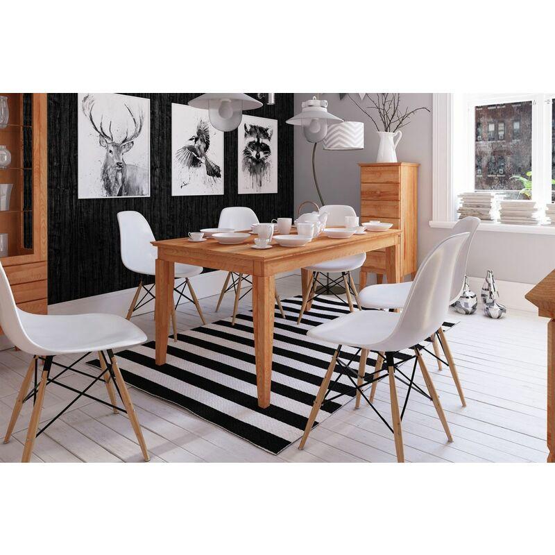 Esstisch Tisch ausziehbar LENNES Wildeiche geölt Natur 120/165x100 cm - FUN MÖBEL