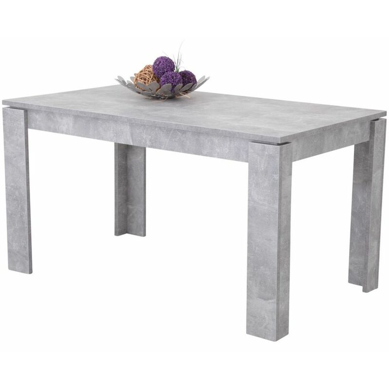 Esstisch Tisch Auszugstisch PASCALE 140-180 x 80 cm Betonoptik - FUN MOEBEL