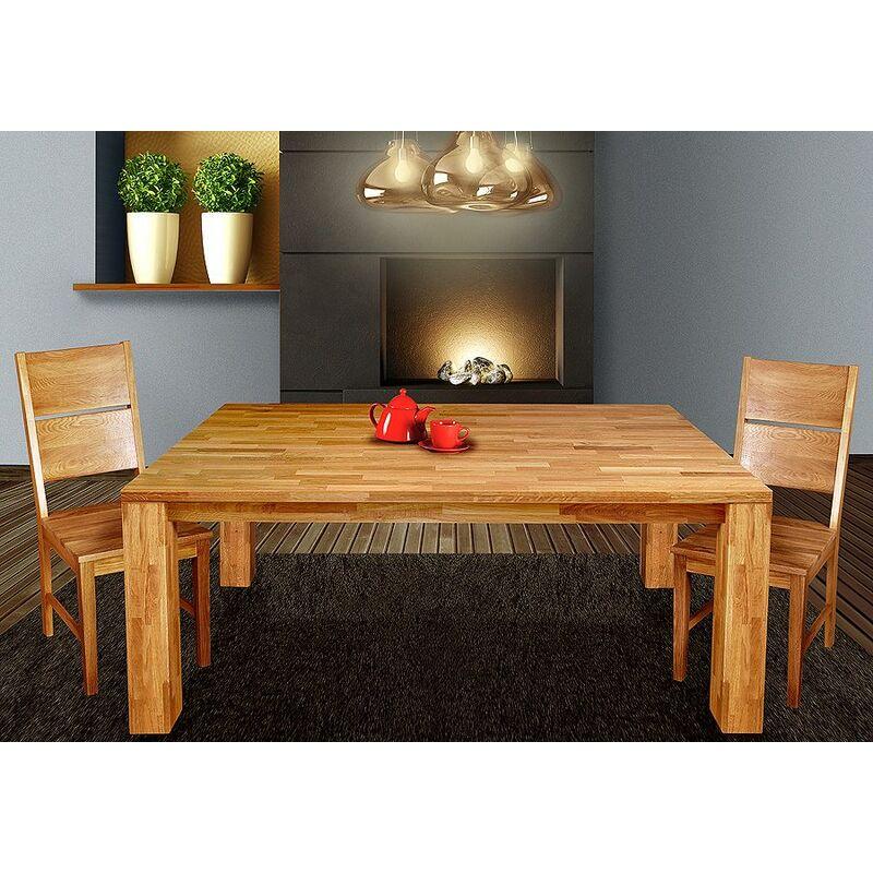 Esstisch Tisch 'BEA' 180x90 cm Eiche massiv geölt / Fuß 115 x115 mm - FUN MOEBEL