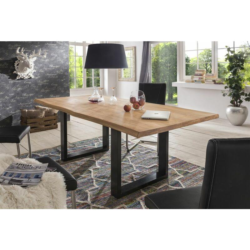 Esstisch Tisch KENAN Wildeiche massiv, 180x100cm Kufengestell - FUN MÖBEL