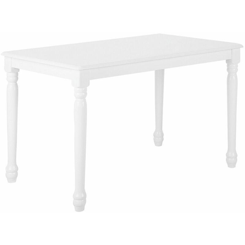Beliani - Esstisch Weiß 75 x 120 cm MDF Tischplatte Lackierter Gestellrahmen Rechteckig Klassisch