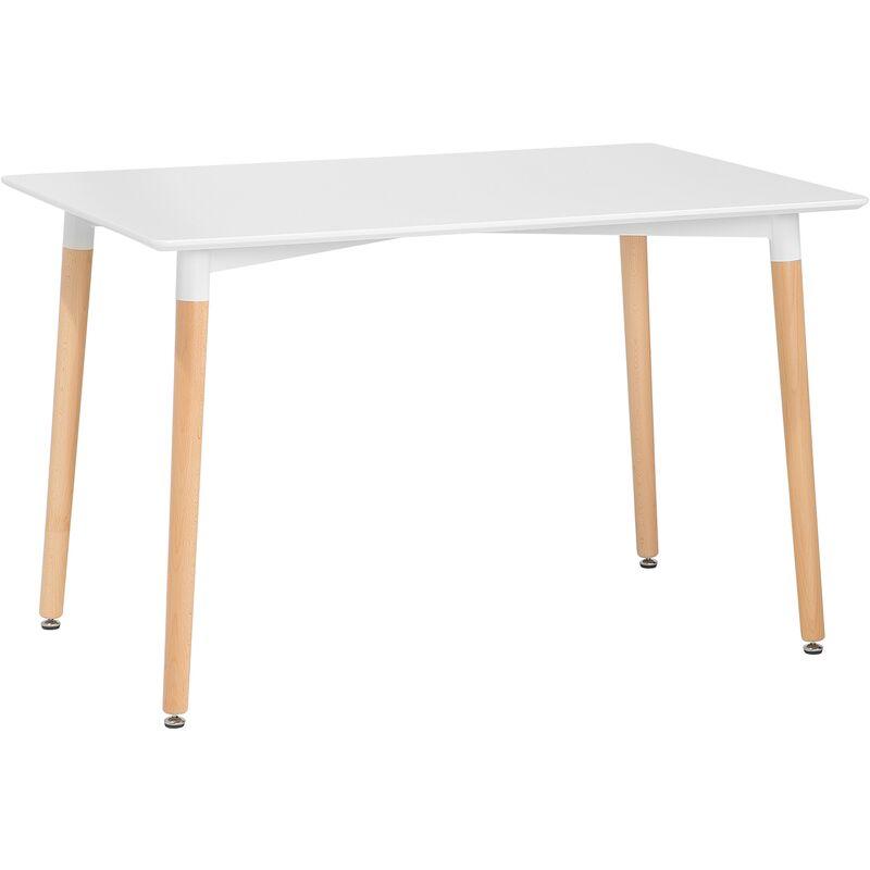 Beliani - Esstisch Weiß 80 x 120 cm MDF Matt Tischplatte Naturfarbene Beinen Rechteckig Modern