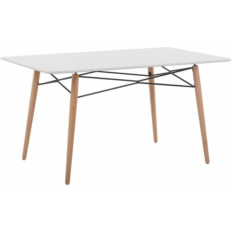 Esstisch Weiß 80 x 140 cm MDF Tischplatte Matt Buchenholz Rechteckig Modern - BELIANI