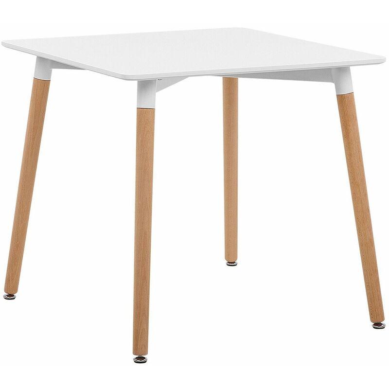 Esstisch Weiß Braun Silber 80 x 80 cm MDF Tischplatte Buchenholz Matt Quadratisch Modern - BELIANI