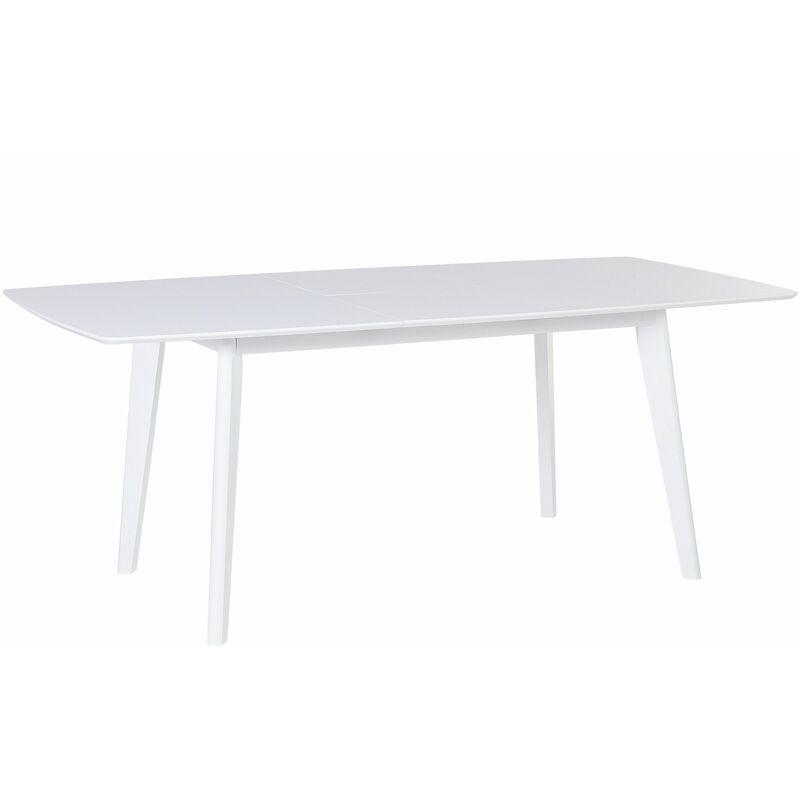 Esstisch Weiß 90 x 150 cm MDF Platte Furniert mit Holzbeine Ausziehbar Rechteckig Klassisch - BELIANI