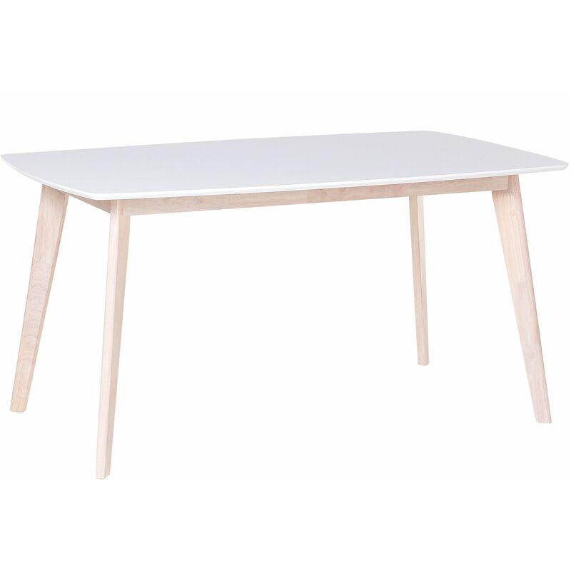 Esstisch Weiß mit Braun 90 x 150 cm MDF Tischplatte Matt Rechteckig Modern Landhausstil - BELIANI