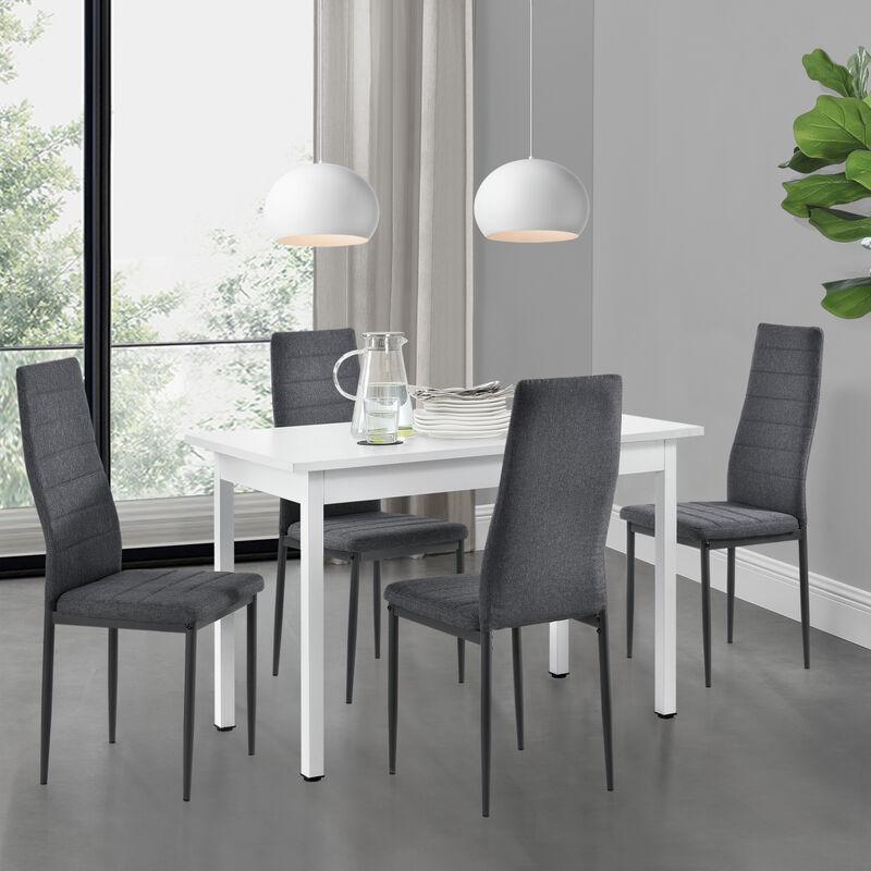 [en.casa] - Esstisch weiß mit 4 Stühlen grau Küchentisch Esszimmertisch 120x60cm