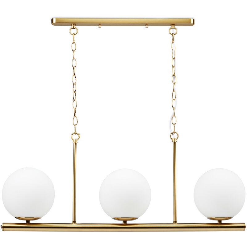Relaxdays - Esstischlampe GLOBI, 3-flammige Hängeleuchte aus Eisen, 3 Kugeln aus Milchglas, E14, 81,5 x 91,5 x 19 cm, gold