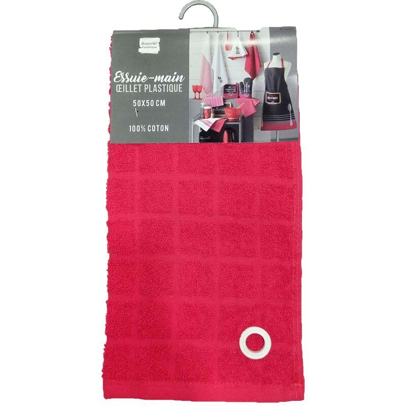 Douceur D'intérieur - Essuie-main 50 x 50 cm eponge unie au bistrot Rouge