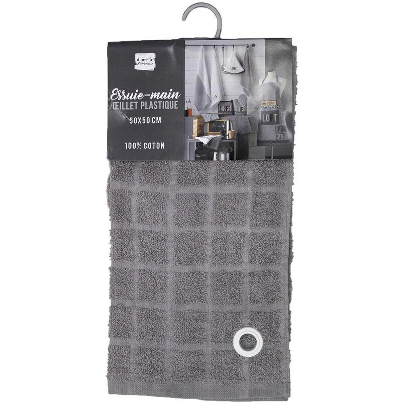 Douceur D'intérieur - Lot de 2 essuie-mains éponge - 50 x 50 cm - Loft Urbain - Gris - Livraison gratuite