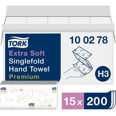 Essuie-main en papier TORK Zickzack Premium 100278 (L x l) 23 cm x 22.6 cm très blanc 15 x 200 feuilles/pack 3000 pc(s)