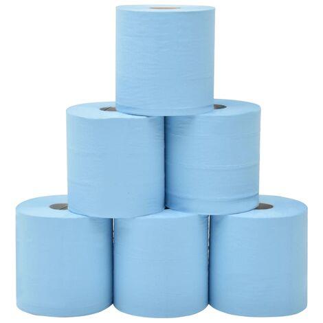 Essuie-tout en papier 2 couches 6 rouleaux 20 cm Bleu