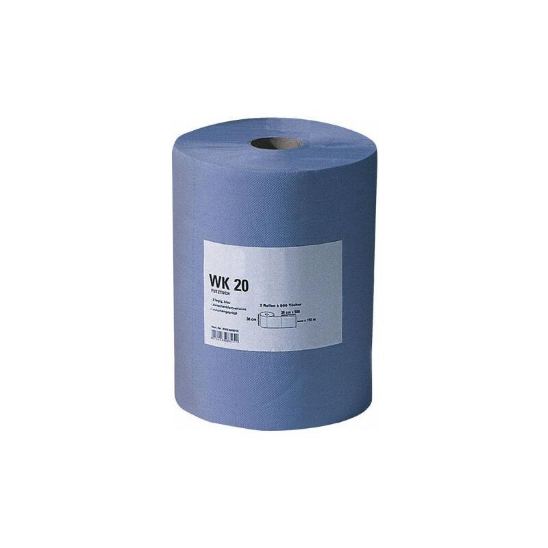 Essuie-tout WK 20 L380xl380env. mm bleu 2 couches, gaufré en volume 500 serviettes/rouleau PROMAT (Par 2)