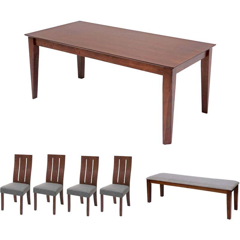 Esszimmer-Set HHG-817, Essgruppe Esszimmergruppe Esszimmergarnitur Sitzgruppe, Stoff/Textil Massiv-Holz