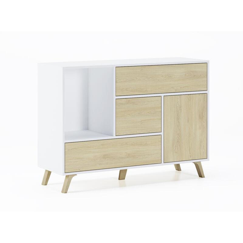 Innovation - Esszimmer Sideboard, Zusatzmöbel Buffet WIND 1 Tür, 3 Schubladen, Farbstruktur Weiß und Farbe Tür und Schubladen Puccini. Maße: