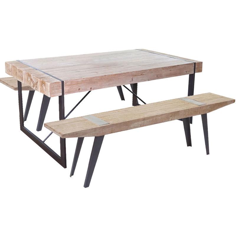 Esszimmergarnitur HHG-762b, Esstisch + 2x Sitzbank, Tanne Holz rustikal massiv 160cm