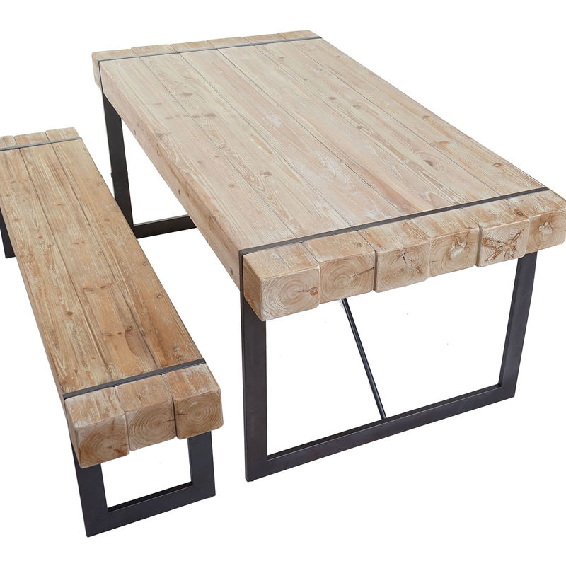 Esszimmergarnitur HHG-895, Esstisch + 1x Sitzbank, Tanne Holz rustikal massiv ~ naturfarben 180cm
