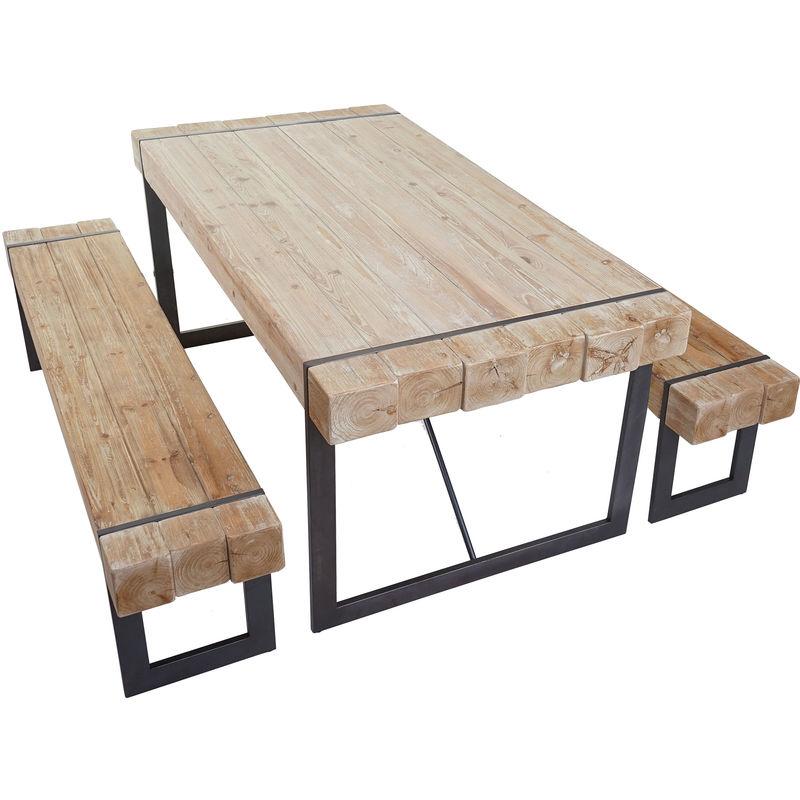 Esszimmergarnitur HHG-895, Esstisch + 2x Sitzbank, Tanne Holz rustikal massiv ~ naturfarben 180cm