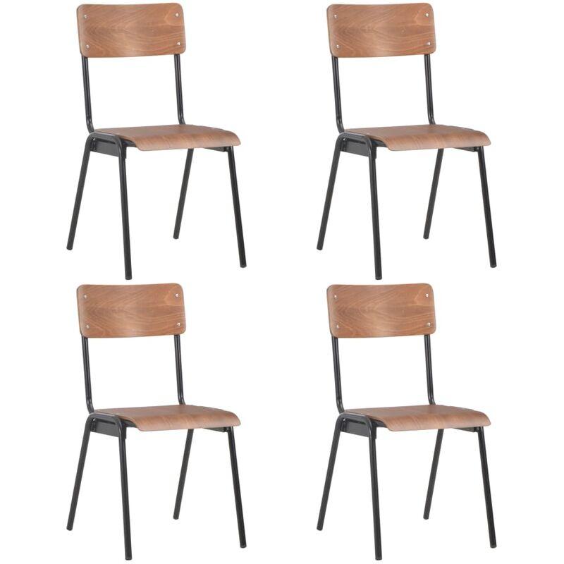 Esszimmerstühle 4 Stk. Braun Massives Sperrholz Stahl