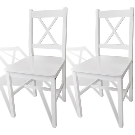 Esszimmerstühle 2 Stk. Weiß Kiefernholz