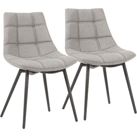 Esszimmerstühle 2er Set, moderne Küchenstühle, Polsterstühle mit Eisenbeinen und Leinen-Baumwoll-Bezug, Loungesessel