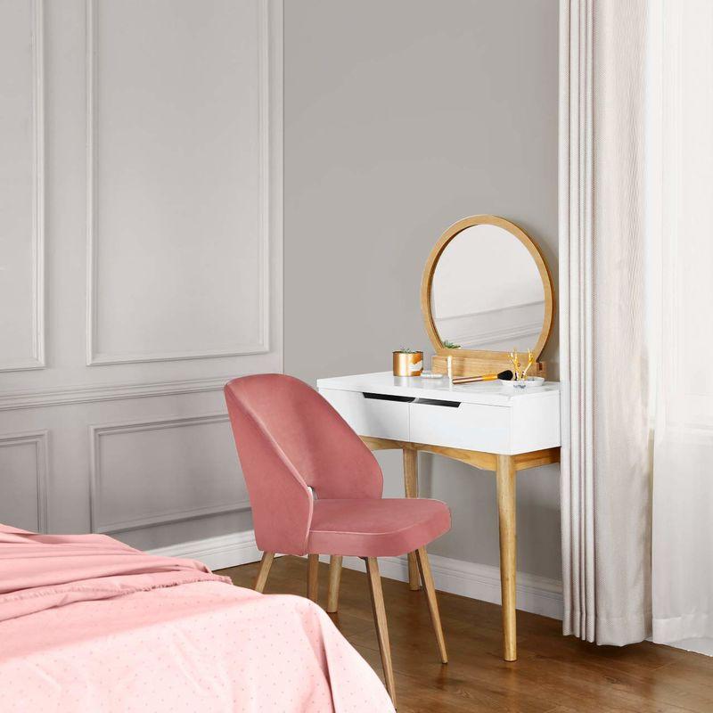 Esszimmerstühle 2er Set, Retro Sessel, Küchenstühle mit Samtbezug,  Polsterstühle mit Metallbeinen, Loungesessel, Esszimmer, Wohnzimmer,  Grün/Rosa/Grau