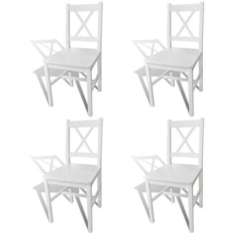 Esszimmerstühle 4 Stk. Weiß Kiefernholz