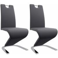 Esszimmerstühle in Zick-Zack-Form 2 Stk. Grau Kunstleder