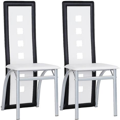 Esszimmerstühle Küchenstühle, Esszimmerstuhl Wartestuhl Besucherstuhl Kunstleder (Weiß-schwarz)