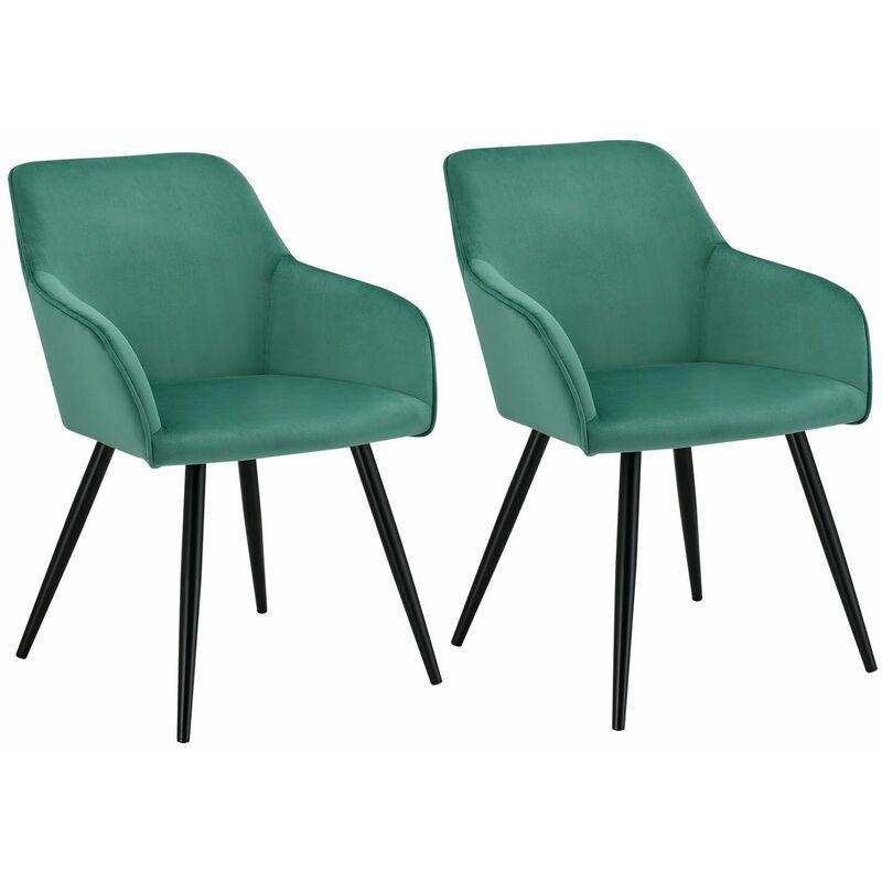 Esszimmerstühle Tarje 2er Set - Samt und bequeme Sitzfläche – Polsterstuhl mit Metallbeinen kratzfest – Loungesessel mit Armlehnen - grün   Artlife