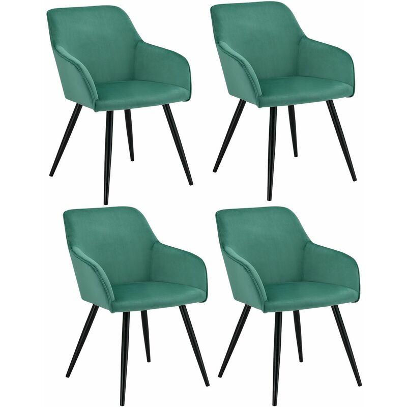 Esszimmerstühle Tarje 4er Set - Samt und bequeme Sitzfläche – Polsterstuhl mit Metallbeinen kratzfest – Loungesessel mit Armlehnen - grün | Artlife