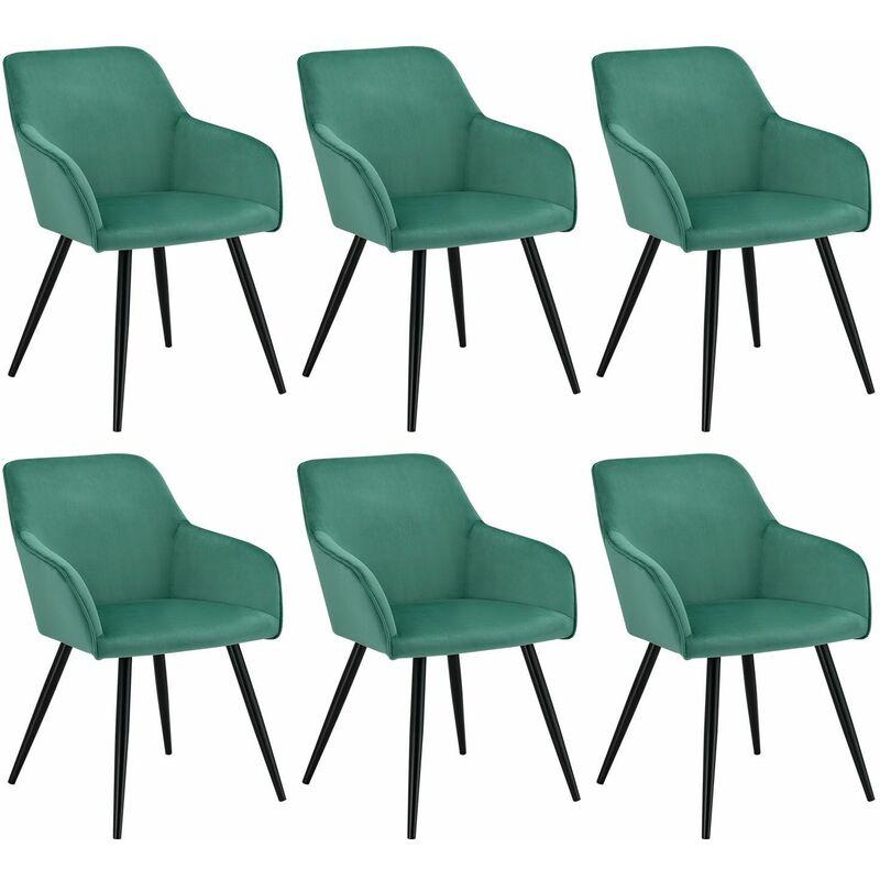 Esszimmerstühle Tarje 6er Set - Samt und bequeme Sitzfläche – Polsterstuhl mit Metallbeinen kratzfest – Loungesessel mit Armlehnen - grün | Artlife