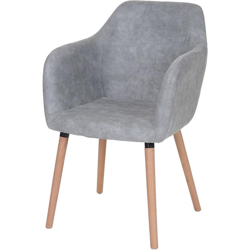 Esszimmerstuhl Vaasa T381, Stuhl Küchenstuhl, Retro 50er Jahre Design ' Textil, vintage dunkelbraun, helle Beine