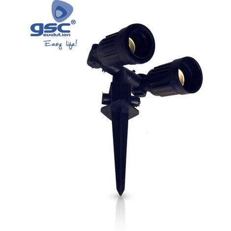 Estaca de jardín doble negra potencia máxima 150W IP44 GSC 000700453