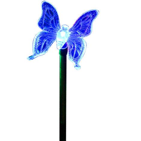 Estaca solar LED para jardin, decoracion de mariposas que cambia de color