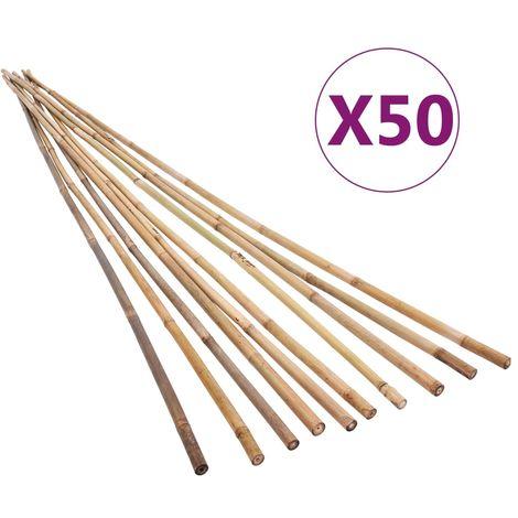 Estacas de bambu para jardin 50 piezas 170 cm