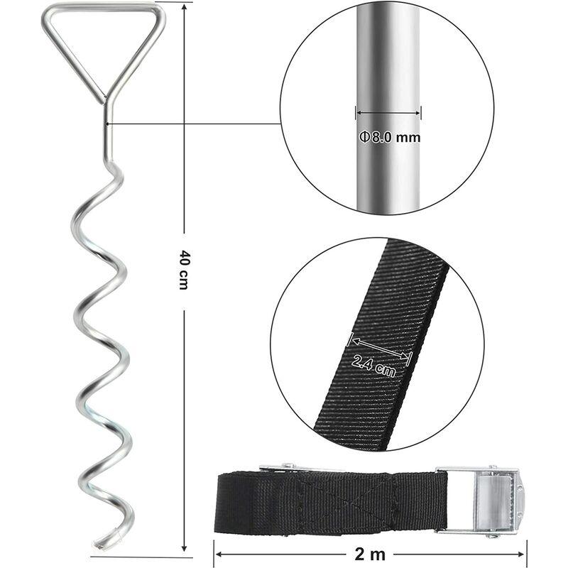 Correas de Poli/éster Dispositivo de Anclaje al Suelo con Estacas de Hierro Galvanizado Hebillas de Acero SGN15INV1 SONGMICS Estacas para Trampol/ín en Espiral