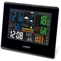 Estación del Tiempo METEO SP71, Negro, con Sensor Externo, Barometro, Higrometro, Reloj, Fechador, Prognóstico, DCF