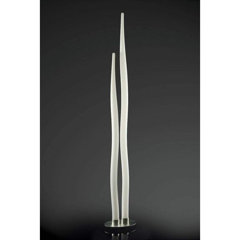 Image of 09-diyas - Estalacta Floor Lamp 2 Indoor Bulbs, silver / opal white